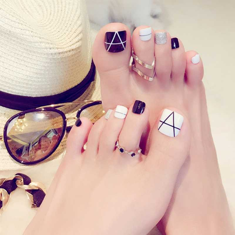 Detail Feedback Questions about 24x Black & White Toe Nails Short ...