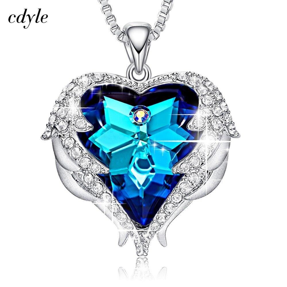 Cdyle Kristalle von Swarovski Halsketten Zirkon Modeschmuck für Frauen Anhänger 2018 Blau Strass Luxus Set Herz Erklärung