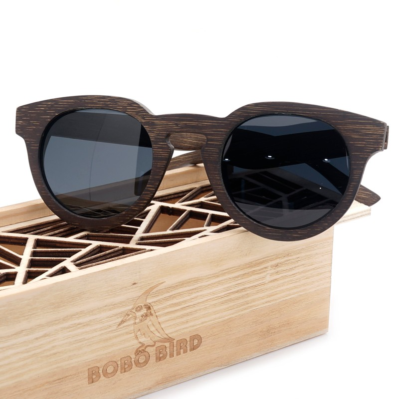 BOBO BIRD Luxury Brand Polarized Lens Sun Glasses Women Beach Wooden Outdoor Sunglasses Men with Wooden Box 2017 Steampunk luxury brand bobo bird men s women dress