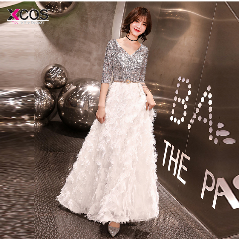 Prom Dresses 2019 V neck Silver Sequined Sweep Train Half Sleeve Evening Gown A line clouds Long vestidos de gala