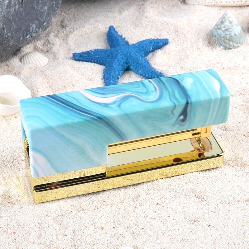 To Be Free Like A Bird Light Blue Stapler Labor-saving Binding Stapler Hand Held Business Office Supplies Sea Blue Paper Stapler