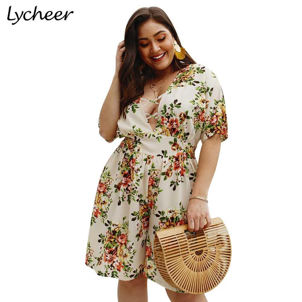Lycheer talla grande bohemian estampado floral mujer mono mameluco verano playa casual playsuit Sexy cintura alta talla grande boho en general