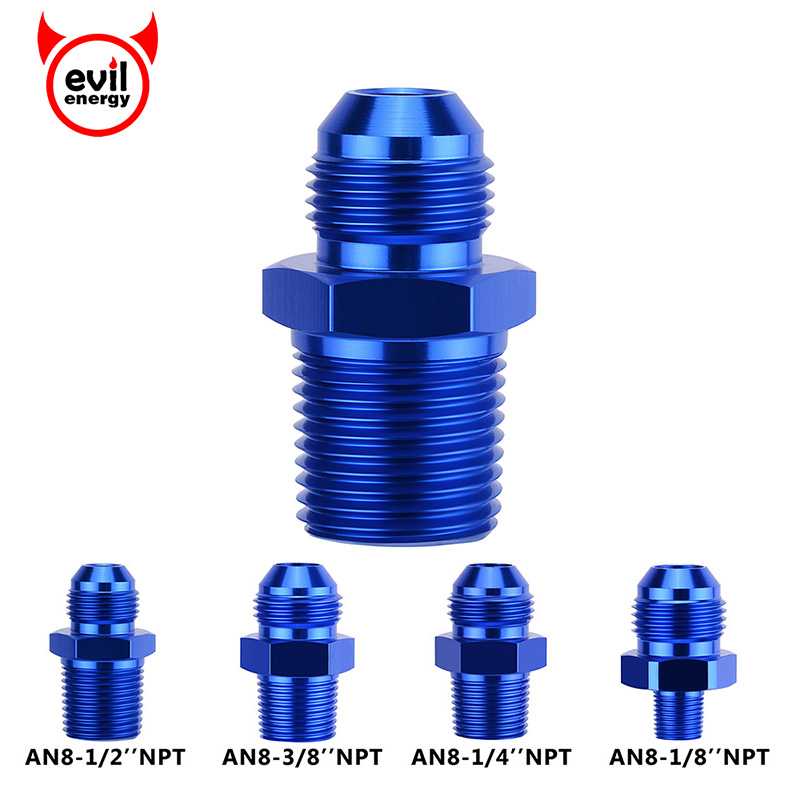 "RED 8AN AN-8 to 1//2/"" NPT Male Thread Straight Aluminum Fitting Adapter"