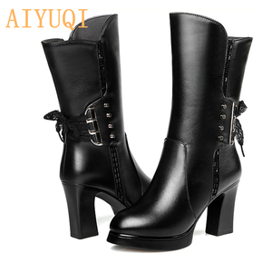 Image 4 - AIYUQI 2020 new genuine leather women boots size 40 wool women genuine winter boots High heeled motorcycle boots women