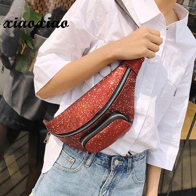 Женская Мода пайетки кожа груди мешок Multi-Функция карманы сумки для Для женщин 2018