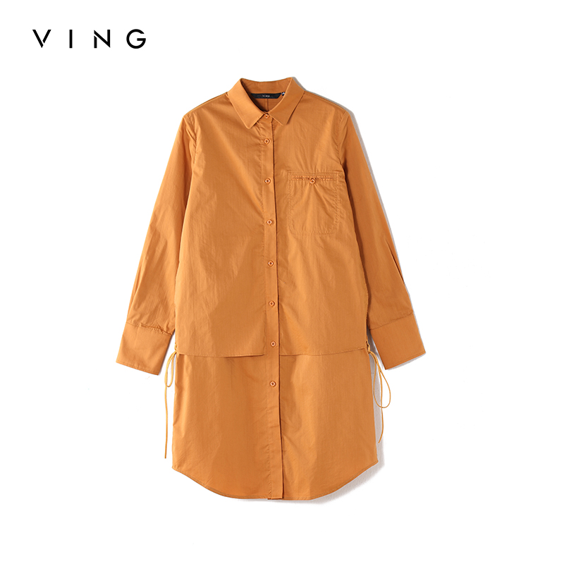 Toyouth Chic Style Side Bandage Long Shirts For Women Fashion Solid Turn Down Collar Long Sleeve Blouses All-Match Top Femme
