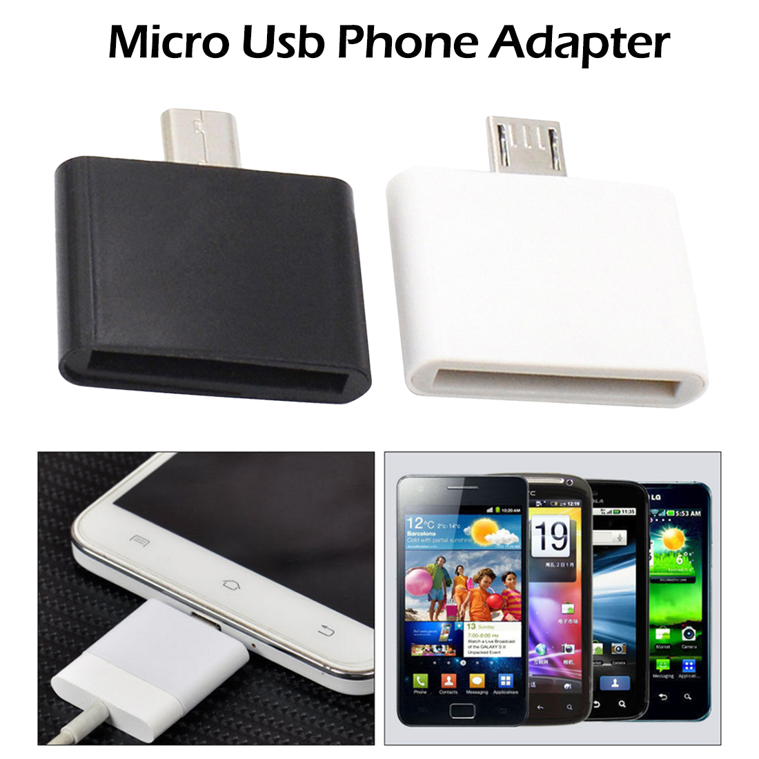30 Pin  Micro USB V8 Cable Female To Male Charger Adapter For IPhone Samsung  HTC