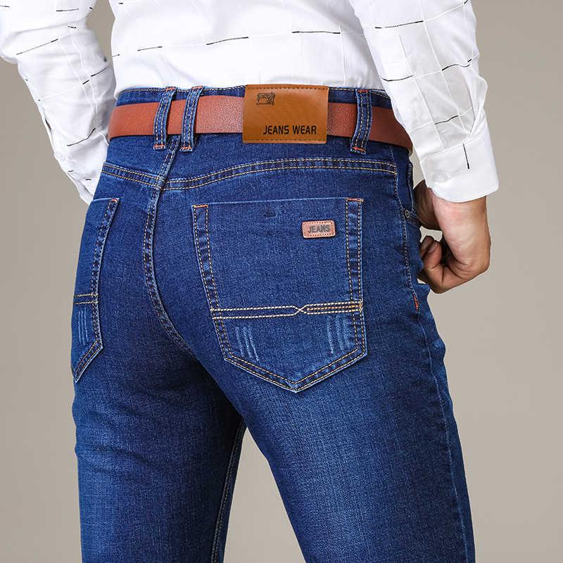 2018 Новый Мужская Мода узкие Стрейчевые джинсы Бизнес Повседневное стрейч Зауженные джинсы классические брюки, джинсовые штаны Spendex джинсы