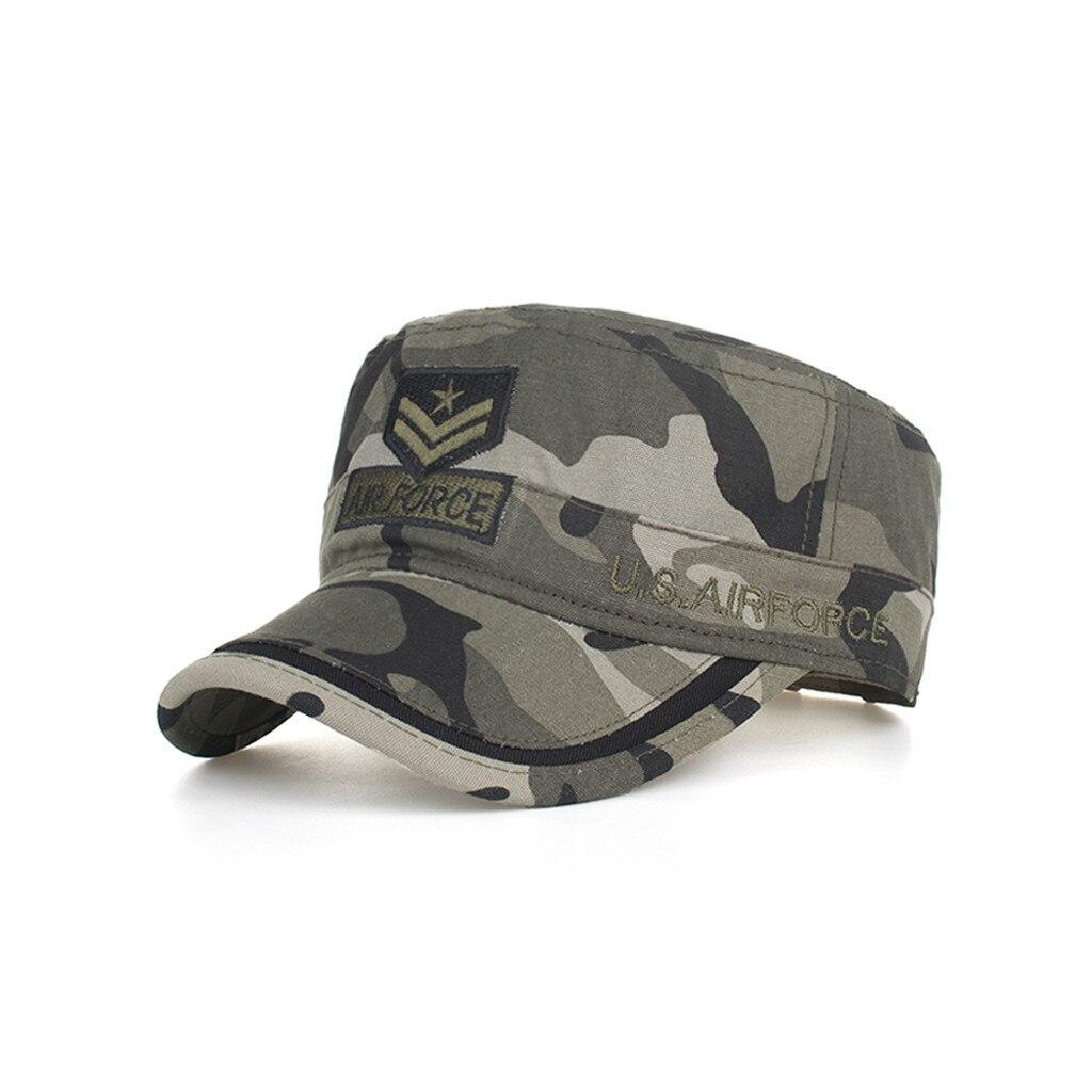 c1a7378a 2019 New Denim Flat Top Cap Women Men Snapback Caps Vintage Army Hat Cadet  Military Patrol