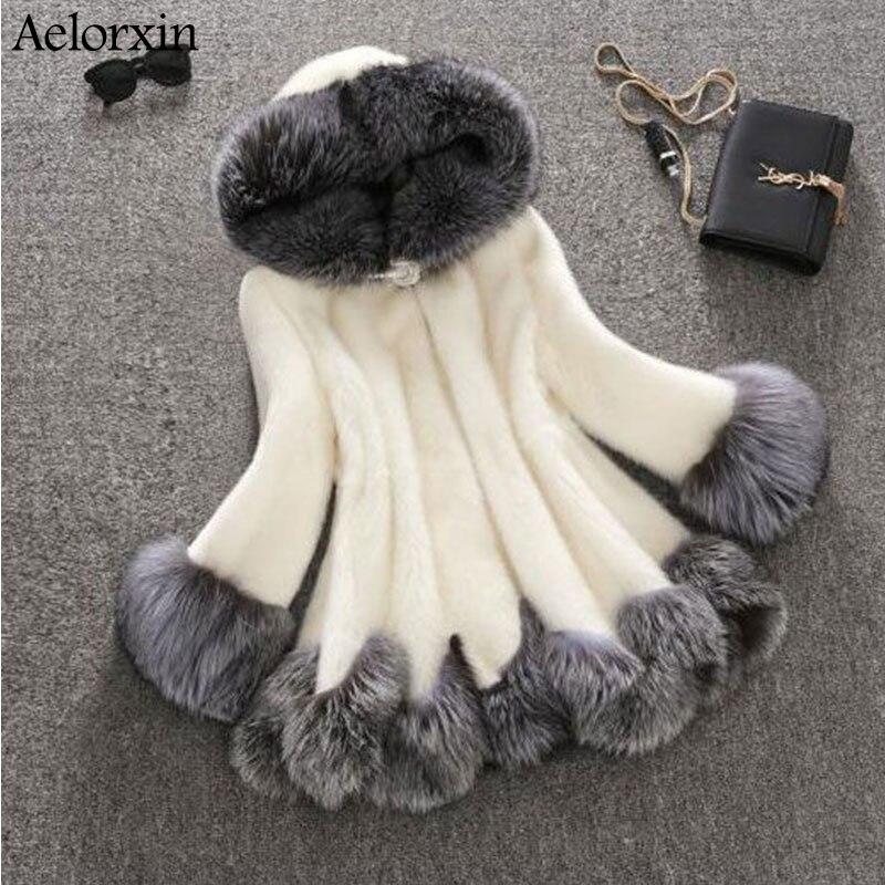 2017 High Imitation Fur Coat Women Silver Fox Fur Collar Hooded Mink Fur Coat Medium-long Overcoat Plus Size S-4XL Winter Coat