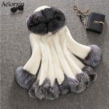 ФОТО 2017 high imitation fur coat women silver fox fur collar hooded mink fur coat medium-long overcoat plus size s-4xl winter coat