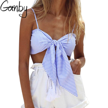 Ganby Sexy Blouse 2017 Fashion Women Casual Summer Women Striped Camis Sleeveless Tops Blackless Bowknot Blouse Blue S-XXL Size
