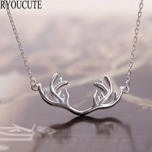 Bohemian New 925 Sterling Silver Antler Deer Necklaces for Women Wedding Jewelry(China)