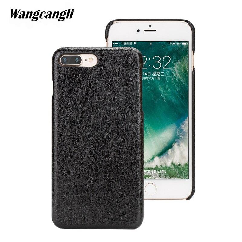 Wangcangli coque de téléphone sur mesure en cuir véritable pour iphoen 7 plus Texture d'autruche demi-pack coque de téléphone coque de téléphone