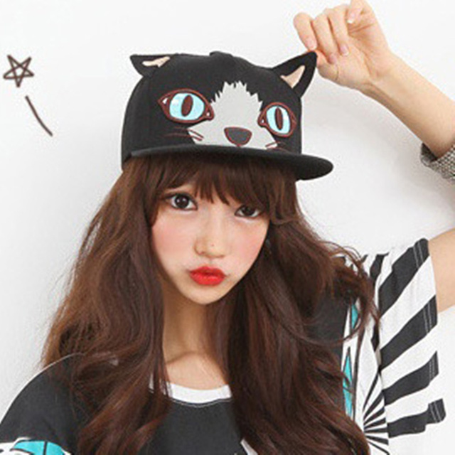 New fashion cartoon cat face embroidery baseball cap cute cat design  Snapback hat high quality evaluation e6f8daccecf2