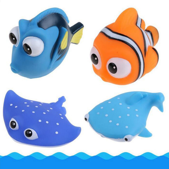 4PCS/set Cute Squeeze Sounding Debbling Toys Baby Bath Toys Kids Float Water Tub Rubber Bathroom Play Animals Bath Toy