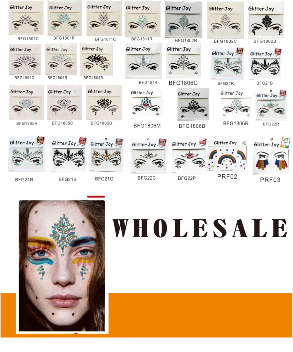 WHOLESALE 100PCS Glitter Festival Face Gem for Chic Look Christmas Party Near Year Eve Party for