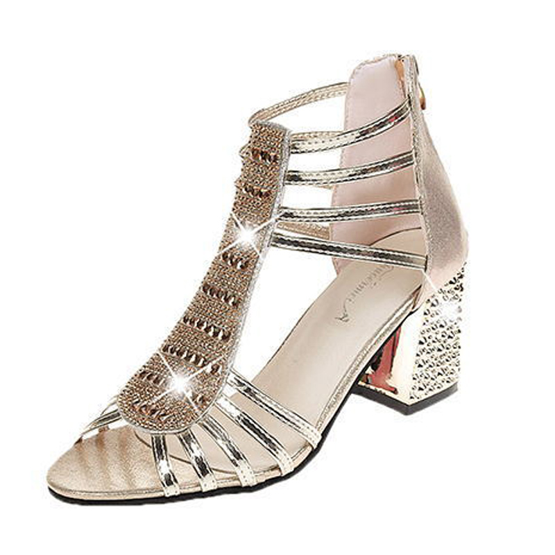 Womens Shoes Rough-heeled Sandals 2019 Summer Korean High-heeled Back Zipper Women Beach Fishmouth