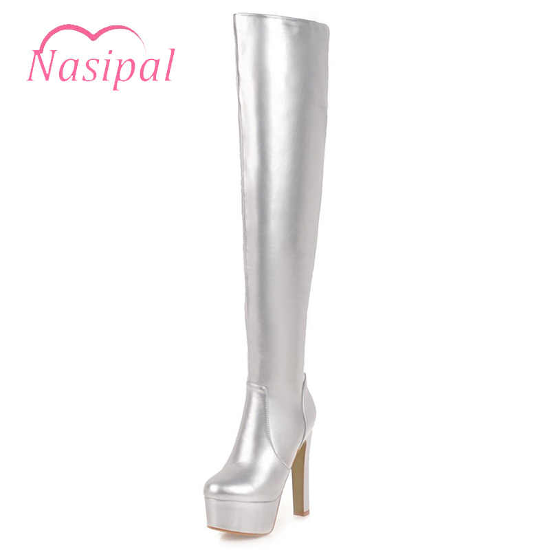 Nasipal Large Size 48 Women Boots Patent Leather Over the Knee Boots for  Women Black Red 80f29072e78c