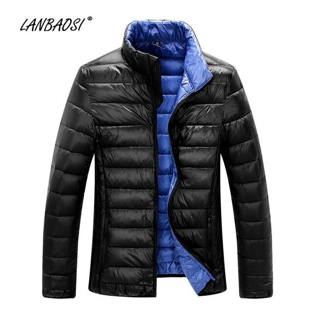 LANBAOSI Fashion Style Men's Down Jacket Thin Spring Winter Warm Ultra Light White Duck Down Coat Men Outwear Jackets Coats