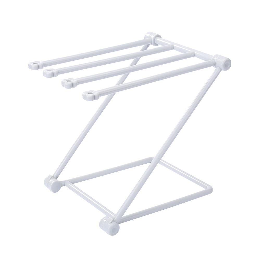 Vertical Foldable Cloth Storage Rack Kitchen Countertop Dish Cloth Rack Towel Storage Holder (Light Grey)