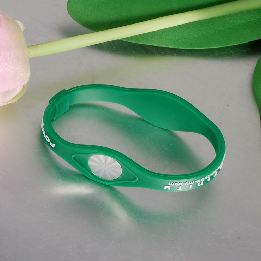 Inox Jewelry Promotion Gifts Green Power Energy Silicone Bracelet For Men Woman Sport Wristband 2