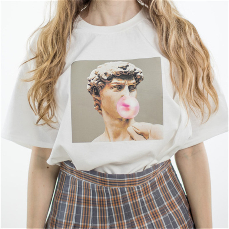 Damentaschen Hillbilly David Michelangelo Sommer Kurzarm Gedruckt Statue Kaugummi Kaugummi Spaß Harajuku T-shirt Plus Größe Neue T-shirt