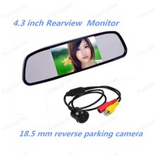 4.3 inch TFT LCD Rearview Mirror Monitor kit with Car Rear reversing backup18.5 mm reverse parking camera