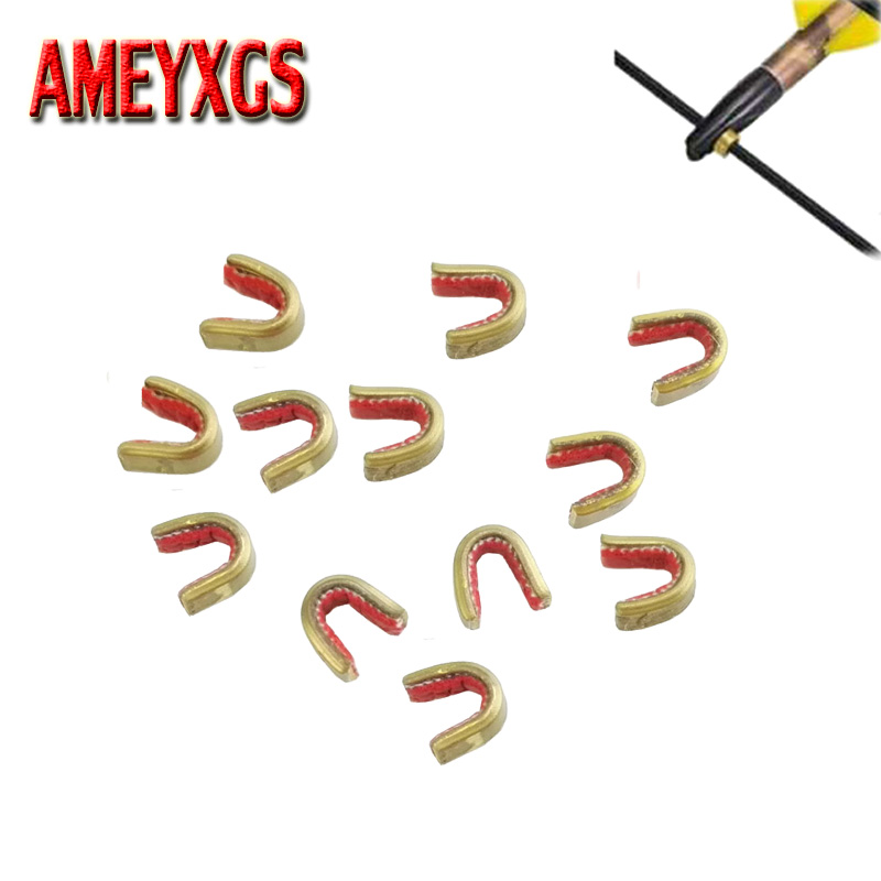 6 pcs Arrow Bow String Nock Brass Buckle Clip Bow String Protect Archery Hunting