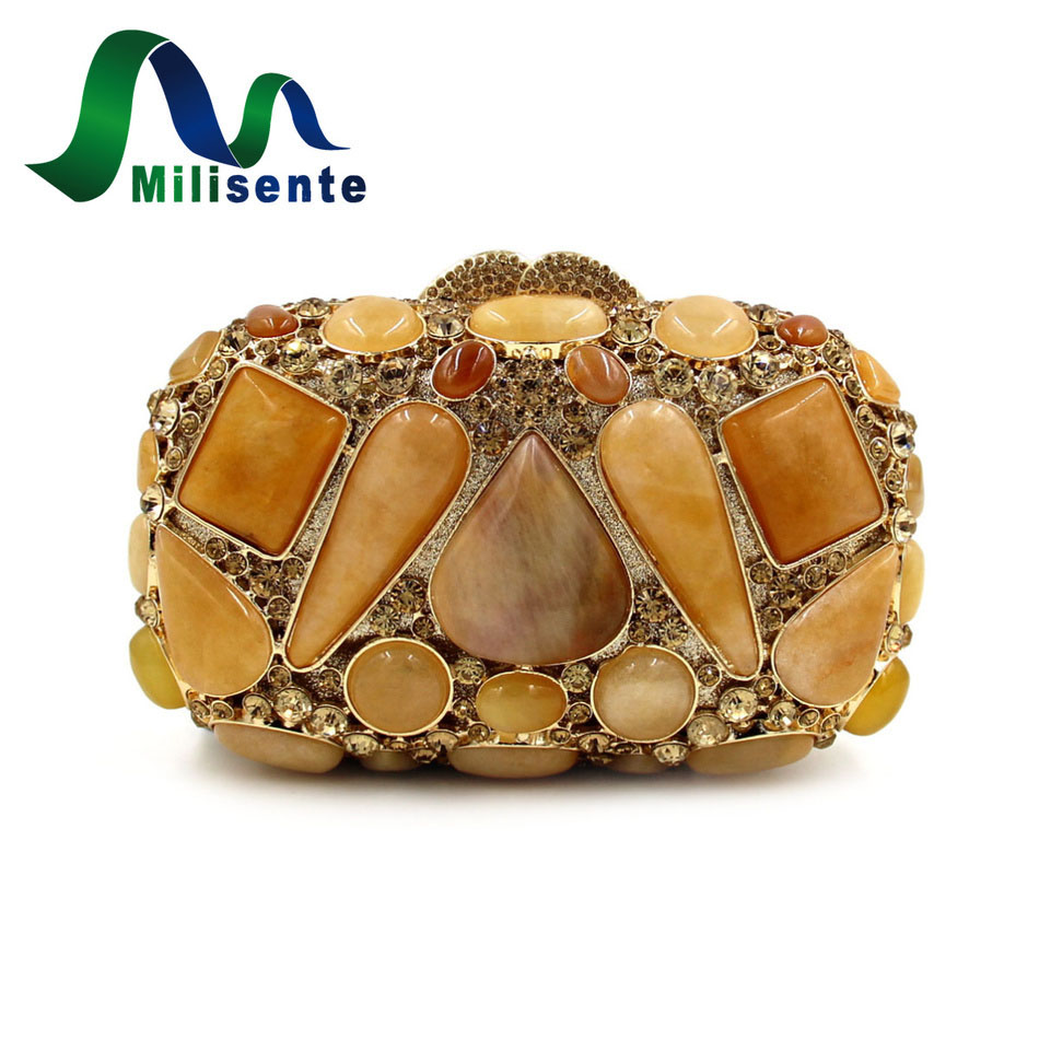 ФОТО Milisente Women Designer Agate Crystal Box Evening Bags Party Handbags Ladies Wedding Purse Lady Day Clutches Gold Small