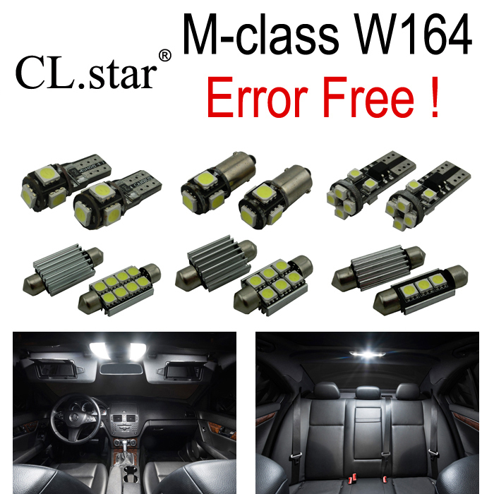 ФОТО 15pcs Error free LED Bulb Interior Light Kit License plate For Mercedes For Mercedes-Benz M class W164 ML350 ML63 AMG (06-11)