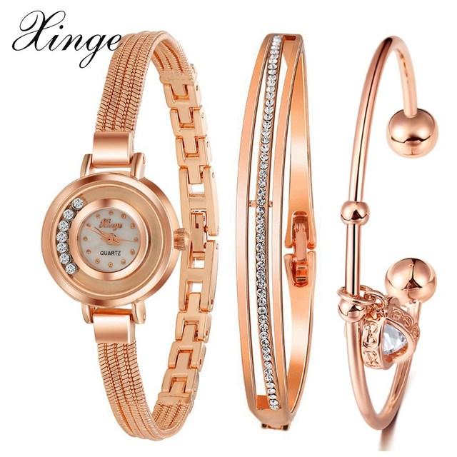 282d1ece5e3 Xinge famosa marca mulheres relógios 3 pcs conjunto pulseira em ouro rosa  feminino estilo quartz relógio