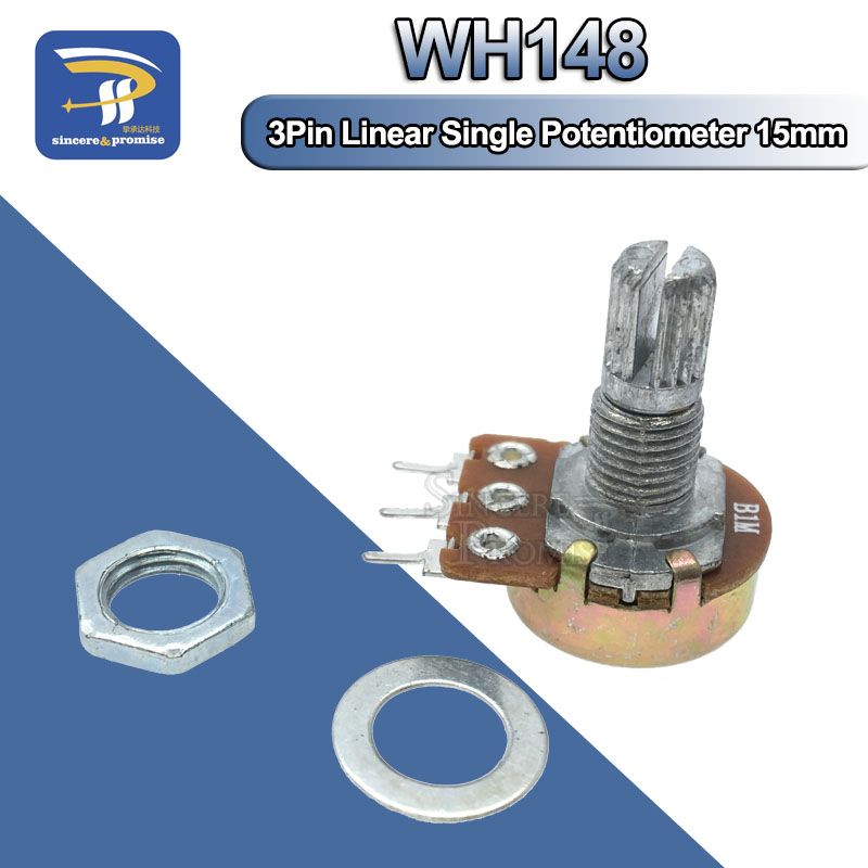 1PCS WH148 Linear Potentiometer 15mm Shaft With Nuts And Washers 3pin WH148 B1K B2K B5K B10K B20K B50K B100K B250K B500K B1M