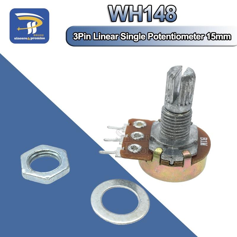 1 шт. WH148 Линейный потенциометр 15 мм вал с гайками и шайбами 3pin WH148 B1K B2K B5K B10K B20K B50K B100K B250K B500K B1M