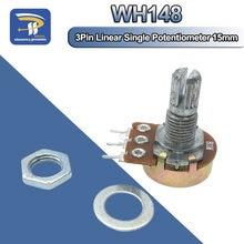 Potenciômetro linear wh132, 1 peça, 15mm, eixo com nozes e arruelas, wha2 b1k b2k .pdf b10k b20k b50k b100k b250k b500k b1m