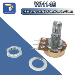 Линейный потенциометр WH148, вал 15 мм с гайками и шайбами 3pin WH148 B1K B2K B5K B10K B20K B50K B100K B250K B500K B1M, 1 шт.