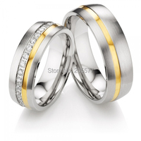 Gold Plating Inlay CZ Diamonds Health Titanium Surgical Stainless Steel Wedding Couples Rings Settings For Men