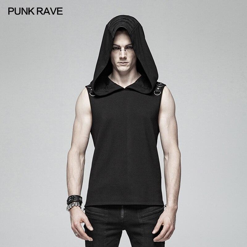 Punk Rave hombres camiseta de Punk Casual misterioso Sudadera con capucha sin mangas de moda Hip Hop Streetwear Top de la Sfor hombres