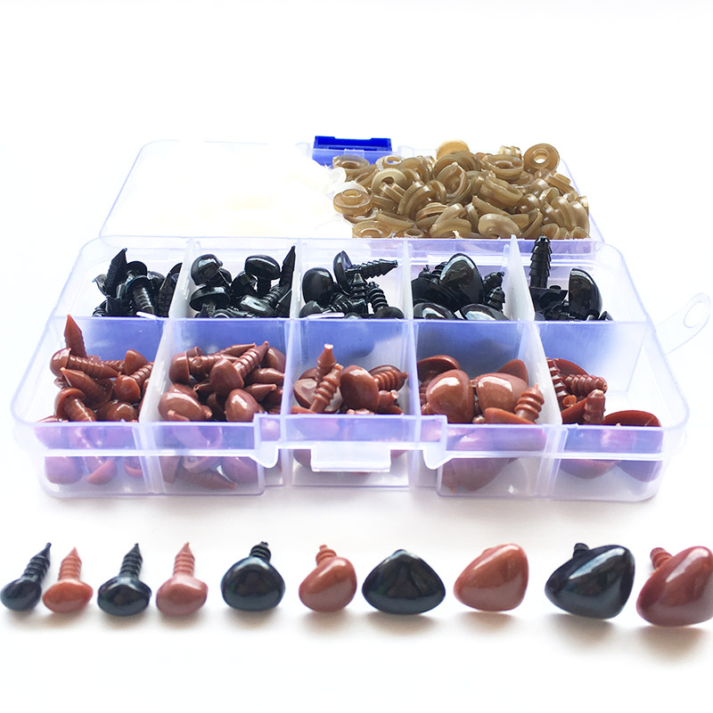 130pcs/box Mini Black And Brown Plastic Safety Noses Triangle For Teddy Bear Stuffed Animals Toys Amigurumis Dolls Accessories