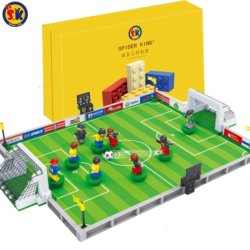 SK Small Big Size 251pcs World Soccer Field 2018 Football Bricks Green Blocks Football Team Blocks