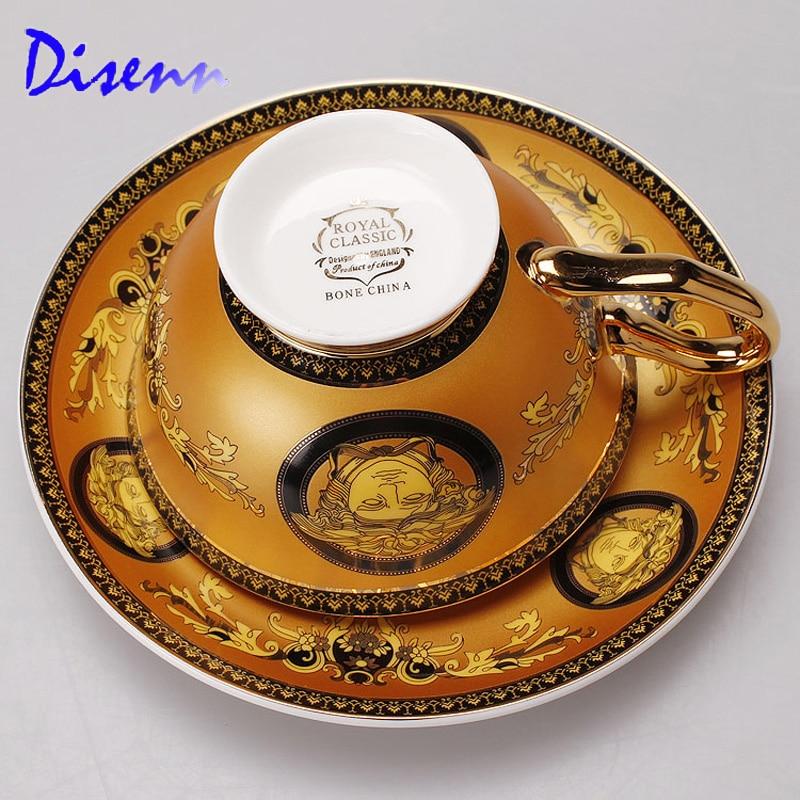 Yellow Mug Set with European <font><b>royal</b></font> classic Drinkware coffee and tea set bone china painting Gold Rim Latte <font><b>cup</b></font>