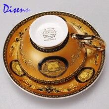 Gelb Becher Set mit Europäischen königs klassische Drink kaffee und tee-set bone china malerei Goldrand Latte tasse