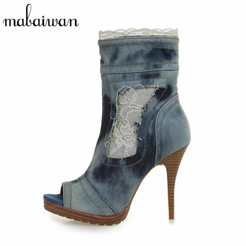 Mabaiwan Fashion Women Thin High Heels Peep Toe Lace Side Zipper Summer Ankle Boots Casual Denim Sandals Women Platform Pumps 2017 sweet ladies peep toe women ankle boots sexy lace super high thin heels women pumps solid zipper female party wedding shoes