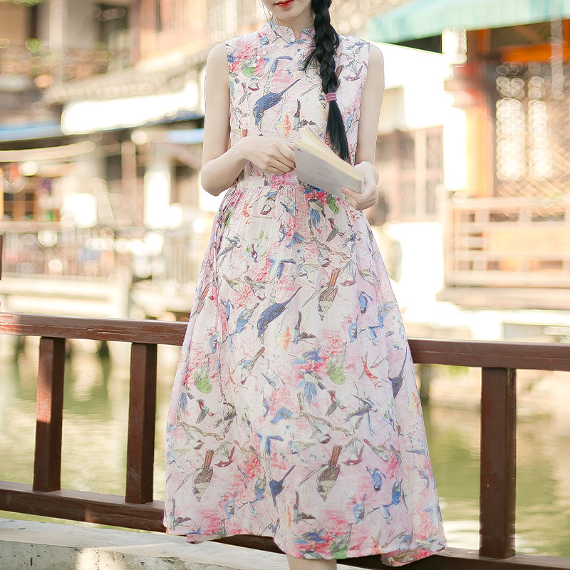 Cheongsam Summer New Women's Retro Sleeveless Cotton Print Long Dresses Republic Wind Pink Green
