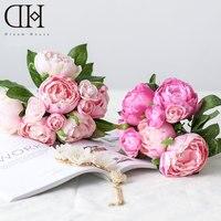 DH peônia camélia 8 pcs buquê de flores de seda flores artificiais baratos falso buquê de flores decoração do casamento artificial peônias