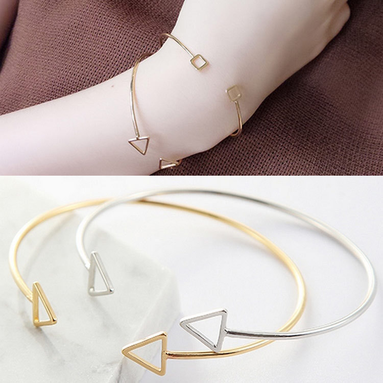 Mossovy Simple Hollow Triangle Geometric Opening Silver Bangles Bracelets for Women Fashion Jewelry Womens Accessories Sieraden