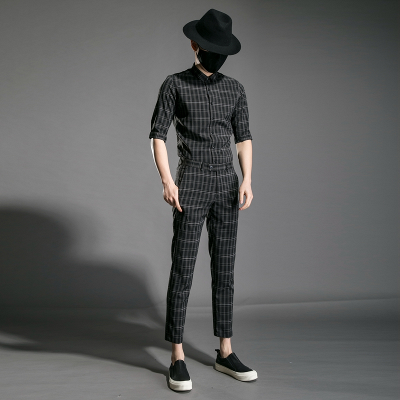 M XXL!! Trend Men's Youth Slim Personality Night Field Hair Stylist Clothing Plaid Nine Pants Half Sleeve Shirt Set. - 4