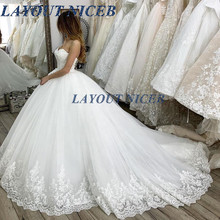 Strapless White Wedding Dress Lace Appliqued Ball Gown Elegant Bridal Dresses Gowns Robe De Mariee 2019 Sexy vestido de noiva стоимость