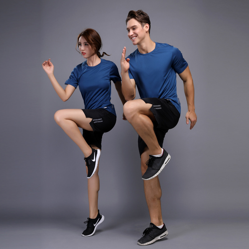 2018 new elastic compression couple fitness suit suit T-shirt male short-sleeved loose T-shirt suit set