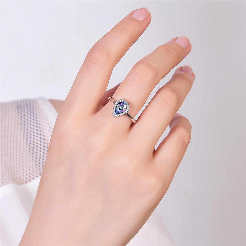 Anillo de dedo de gota de agua Arco Iris minimalista Vintage 100% Real 925 Plata de Ley anillo de boda anillos de promesa de moda para mujeres